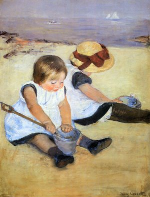 Reproduction oil paintings - Mary Cassatt - Children Playing On The Beach