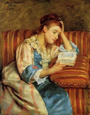 Reproduction oil paintings - Mary Cassatt - Mrs. Duffee Seated on a Striped Sofa, Reading