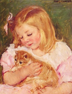 Reproduction oil paintings - Mary Cassatt - Sara Holding A Cat