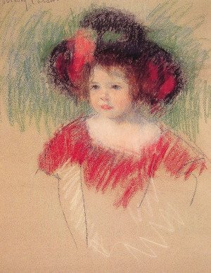 Reproduction oil paintings - Mary Cassatt - Margot In Big Bonnett And Red Dress