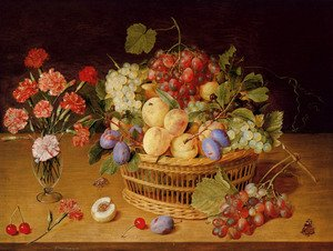 Reproduction oil paintings - Gerrit Van Honthorst - A Still Life Of A Vase Of Carnations To The Left Of A Basket Of Fruit