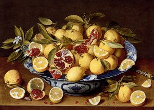 Gerrit Van Honthorst reproductions - A Still Life Of A Wanli Kraak Porcelain Bowl Of Citrus Fruit And Pomegranates On A Wooden Table