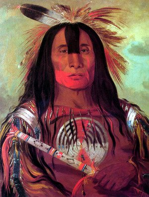 Famous paintings of Fantasy, Mythology, Sci-Fi: Buffalo Bull's Back Fat, Head Chief, Blood Tribe