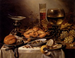 Famous paintings of Fish and Seafood: Banquet Still Life With A Crab On A Silver Platter, A Bunch Of Grapes, A Bowl Of Olives, And A Peeled Lemon All Resting On A Draped Table