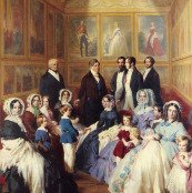 Oil painting reproductions - Furniture - Franz Xavier Winterhalter: Queen Victoria and Prince Albert with the Family of King Louis Philippe at the Chateau D'Eu