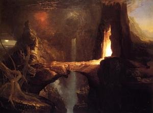 Famous paintings of Caves: Expulsion - Moon and Firelight