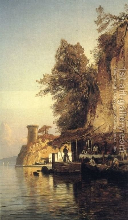 Hermann David Solomon Corrodi: Italian Fisherfold By the Sea, Southern Italy - reproduction oil painting