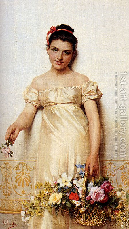 A Young Lady Holding A Basket Of Flowers by Giovanni Costa - Reproduction Oil Painting