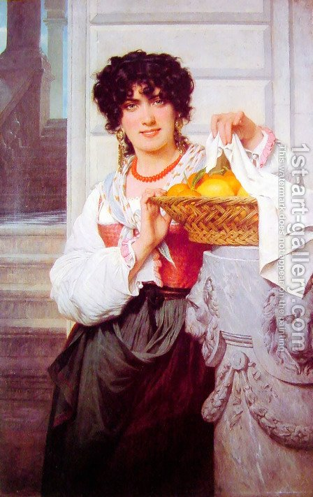 Pierre Auguste Cot: Pisan Girl with Basket of Oranges and Lemons - reproduction oil painting