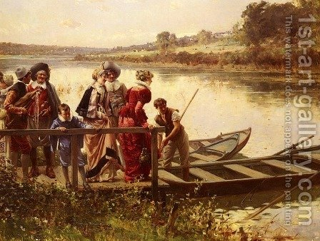 At The Ferry by Adrien Moreau - Reproduction Oil Painting