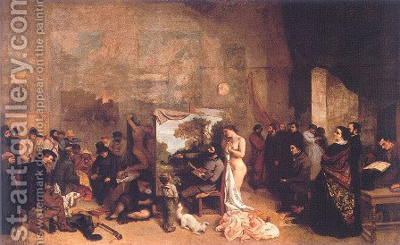 The Artist's Studio (or A True Allegory Concerning Seven Years of My Artistic Life) by Gustave Courbet - Reproduction Oil Painting