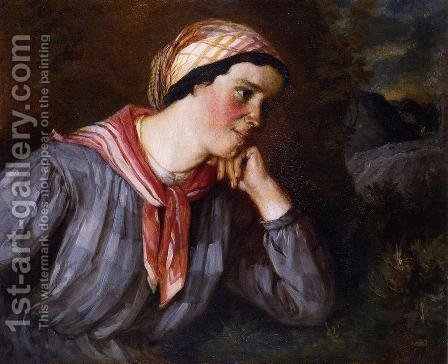 Peasant Wearing Madras by Gustave Courbet - Reproduction Oil Painting