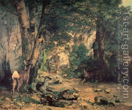 A Thicket of Deer at the Stream of Plaisir-Fountaine by Gustave Courbet - Reproduction Oil Painting