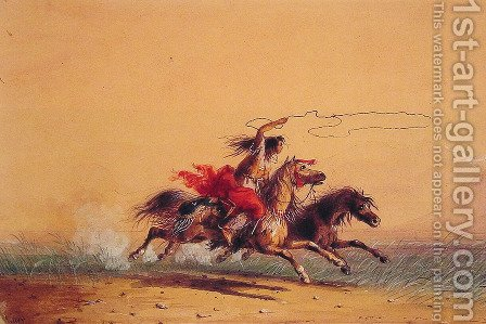 Lassoing wild horses by Alfred Jacob Miller - Reproduction Oil Painting