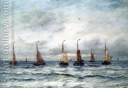 A Fishing Fleet by Hendrik Willem Mesdag - Reproduction Oil Painting
