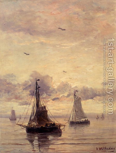 Evening Anchorage by Hendrik Willem Mesdag - Reproduction Oil Painting