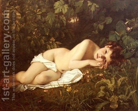 Afternoon Dreaming by Hugues Merle - Reproduction Oil Painting