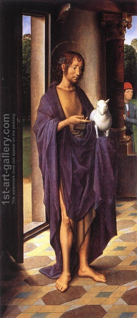 The Donne Triptych [detail: 1, left wing] by Hans Memling - Reproduction Oil Painting