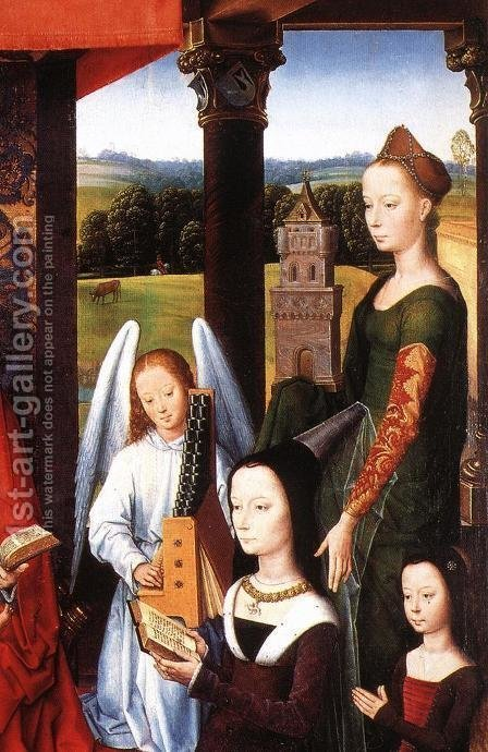 The Donne Triptych [detail: 4, central panel] by Hans Memling - Reproduction Oil Painting