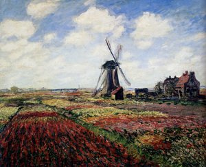 Famous paintings of Clouds & Skyscapes: Tulip Fields With The Rijnsburg Windmill