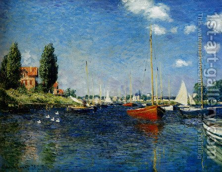 Claude Oscar Monet: Argenteuil (Red Boats) - reproduction oil painting