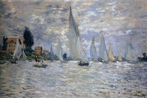 Famous paintings of Clouds & Skyscapes: The Boats: Regatta At Argenteuil