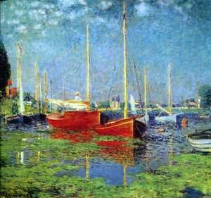 Famous paintings of Trees: The Red Boats, Argenteuil