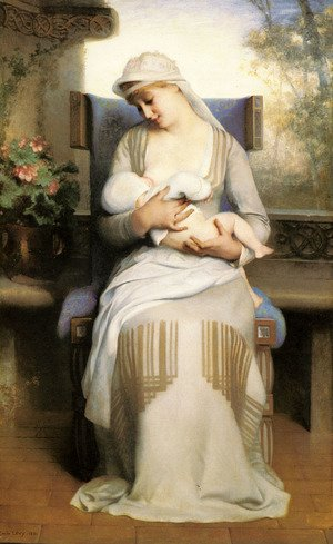 Reproduction oil paintings - Nicolas-Bernard Lepicier - Young Mother Feeding Her Baby