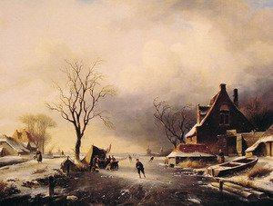 Famous paintings of Ice: Winter Scene with Skaters