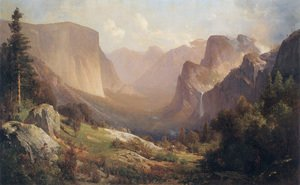 Famous paintings of Clouds & Skyscapes: View of Yosemite Valley