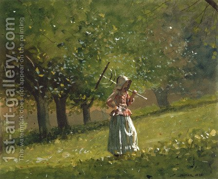 Winslow Homer: Girl with a Hay Rake - reproduction oil painting