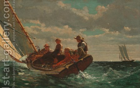 Breezing Up (or A Fair Wind) by Winslow Homer - Reproduction Oil Painting