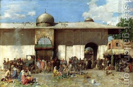 A Market Scene by Alberto Pasini - Reproduction Oil Painting