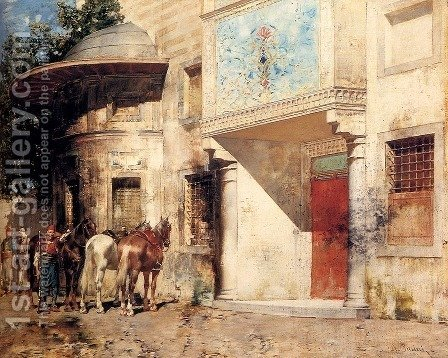 Outside The Mosque by Alberto Pasini - Reproduction Oil Painting