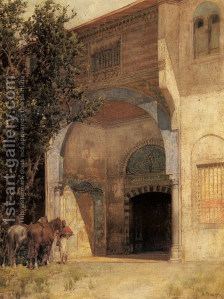 Standing Guard by Alberto Pasini - Reproduction Oil Painting