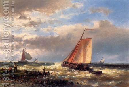 A Choppy Estuary by Abraham Hulk Snr - Reproduction Oil Painting