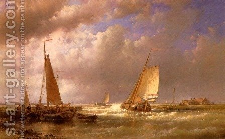 Dutch Barges At The Mouth Of An Estuary by Abraham Hulk Snr - Reproduction Oil Painting