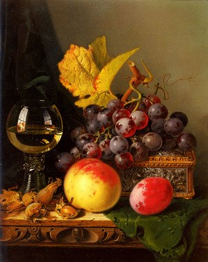 Famous paintings of Apples: A Still Life of Black Grapes, a Peach, a Plum, Hazelnuts, a Metal Casket and a Wine Glass on a Carved Wooden Ledge