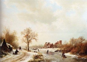 Famous paintings of Ice skating: Winterlandschap: A Winter Landscape With Skaters On A Frozen Waterway And Peasants By A Farm In The Foreground