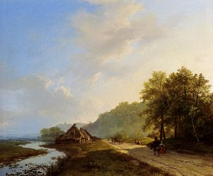 Famous paintings of Summer: A Summer Landscape With Travellers On A Path