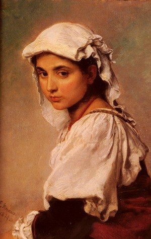 Reproduction oil paintings - Ludwig Knaus - A Portrait Of A Tyrolean Girl