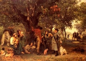 Reproduction oil paintings - Ludwig Knaus - Zigeuner Im Walde, Vom Ortsschulzen Uber Ihre Legitimation Ausgefragt (Gypsies in the Forest)