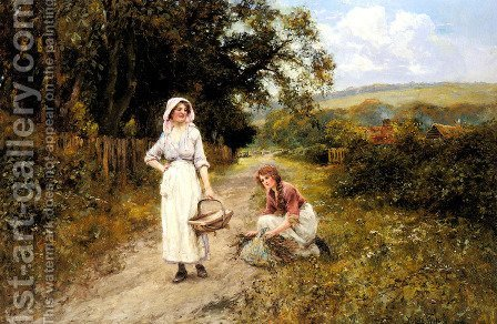 Faggot Gatherers on a Path by Henry John Yeend King - Reproduction Oil Painting