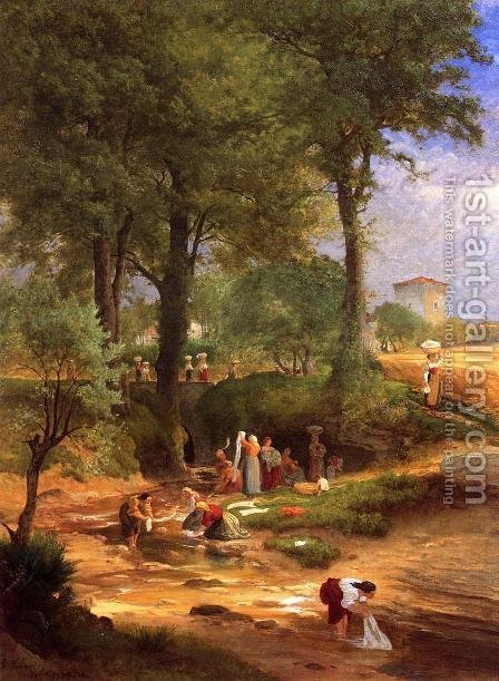 George Inness: Washing Day near Perugia (or Italian Washerwomen) - reproduction oil painting