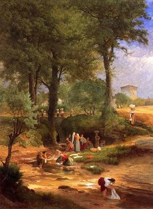 Reproduction oil paintings - George Inness - Washing Day near Perugia (or Italian Washerwomen)