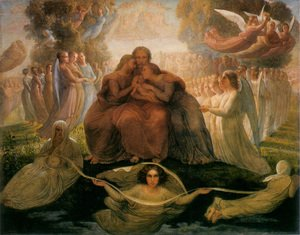 Reproduction oil paintings - Anne-Francois-Louis Janmot - Le Poème de l'âme - Géneration divine (The Poem of the Soul - Divine Genesis)