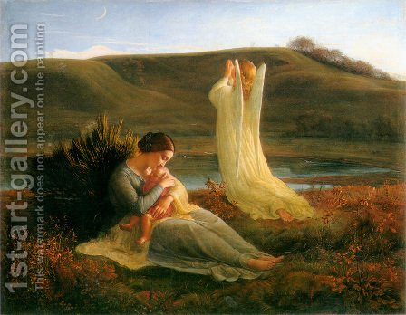 Anne-Francois-Louis Janmot: Le Poème de l'âme - L'Ange et la mère (The Poem of the Soul - The Angel and the Mother) - reproduction oil painting