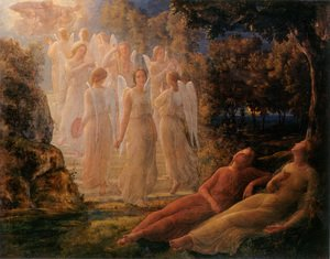 Reproduction oil paintings - Anne-Francois-Louis Janmot - Le Poème de l'âme - L'Échelle d'or (The Poem of the Soul - The Golden Ladder)