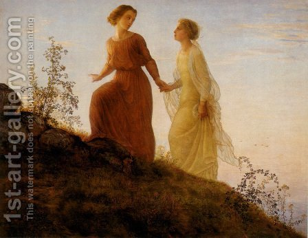 Anne-Francois-Louis Janmot: Le Poème de l'âme - Sur la montagne (The Poem of the Soul - On the Mountain) - reproduction oil painting