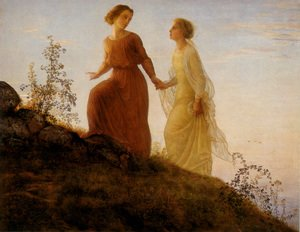 Reproduction oil paintings - Anne-Francois-Louis Janmot - Le Poème de l'âme - Sur la montagne (The Poem of the Soul - On the Mountain)